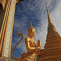 Golden Kinnaree statue - Grand Palace in Bangkok - photo gallery