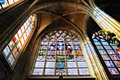 Stained glass window in Sablon Church in Brussels - stained glass - pictures