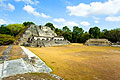 Pirâmide maia de Xunantunich de Belize - fotografias