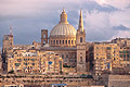 St. Pauls Cathedral and belltower Charmelite Church in Valletta - the capital of Malta - travels