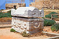 Images - The stone roman Sarcophagus in antique Caesarea - Israel