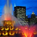 Picture of Buckingham Memorial Fountains (one of the largest fountains in the world) in Chicago